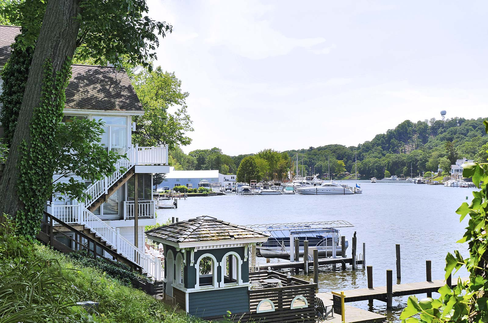 Treehouse Cottage view of Saugatuck Harbor